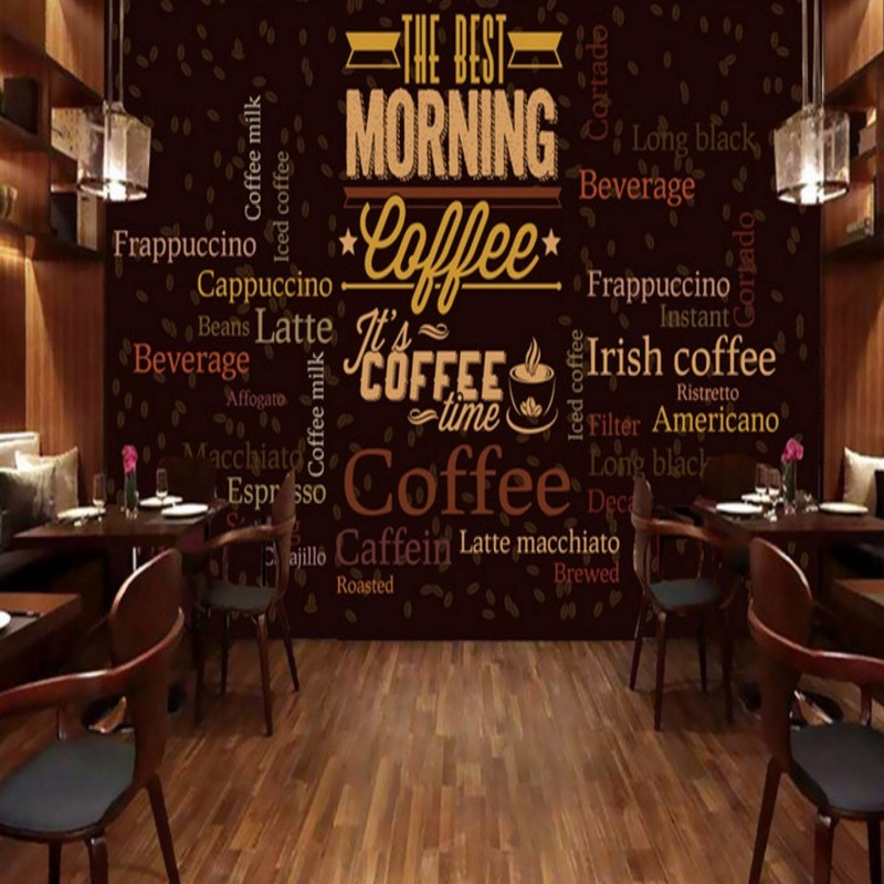 Custom photo wallpaper Custom Retro Coffee English Text Background Wall mural restaurant cafe bar shopping mall wallpaper custom food store wallpaper wood pattern coffee 3d retro mural for the restaurant cafe hotel background wall pvc wallpaper