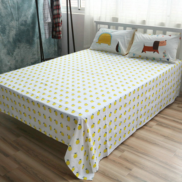 Charmant Cotton Bed Linen Custom Size Lemon Sheet Sets Cotton Flat Sheet Queen  Fitted Sheet Dog Pillow