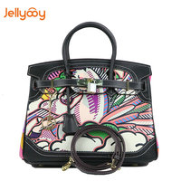 Jellyooy Beachkins Women's Padlock Flap Luxury Leather Handbags Fashion Animal Prints Colorful Printing Lace Trim Lichee Handbag