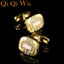 2017 New Men's Cuff Links Mens Wedding Party Gift French Cufflinks Classical Gold Plated Metal Buttons Men