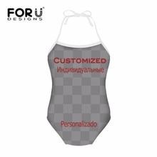 FORUDESIGNS Customized Kawaii Children Swimsuit One Piece Harness Beachwear Sports Summer Beach Swim Clothes for Girls Printing