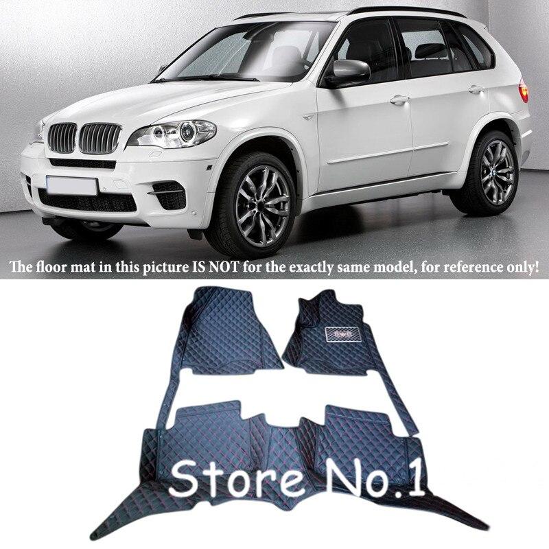 5 sièges pour BMW X5 E70 2008 2009 2010 2011 2012 2013 intérieur en cuir imperméable Durable spécial tapis de sol et tapis