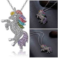 Trendy For Women Baby Gifts for High Quality Unicorn Animal Necklace Girls Rainbow Necklaces & Pendants 4