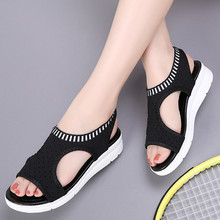 Summer 2019 New Women 샌들 패션 Women's Wedge 샌들 Women's Slip 편안한 탄성 Band 평 샌들 women 888(China)