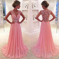 Cheap Evening Dresses 2017 Long New Charmming V Neck Floor Length Chiffon With Top Lace Party