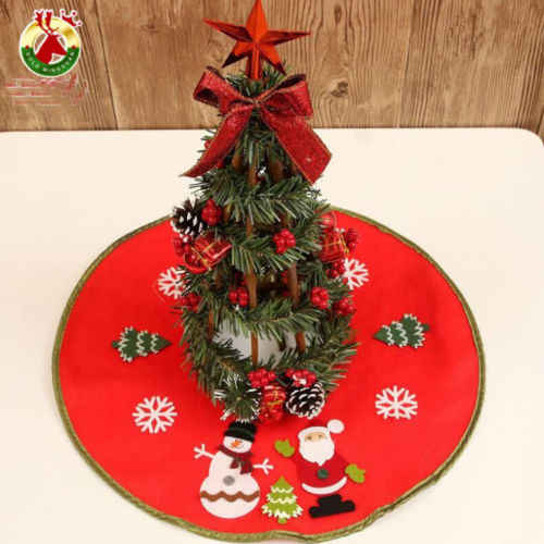 1Pcs Red Christmas Tree Skirts Cotton Stands Round Ornaments Xmas Party Trees Skirt 46CM Decor