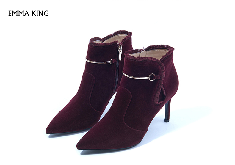 Botas Nouveau De Femmes Daim Bout Stiletto Hauts Court Mujer Dames Talons Bottines En red À Black Gland Pointu Femme Chaussures Printemps Soirée q7T0dFF