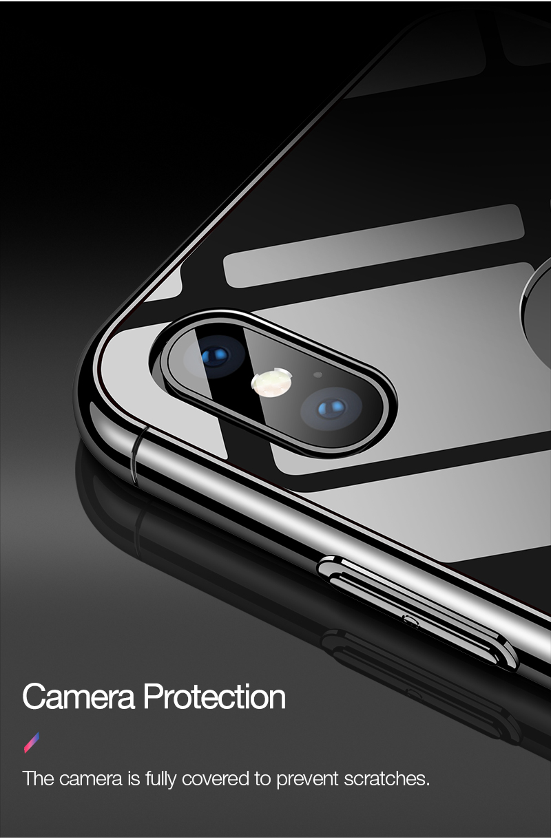 CAFELE Luxury Case For iPhone X 10 plating frame Tempered 3 in 1 Glass Ultra Thin color Glass Back Cover For iPhones X 10 Cases (9)