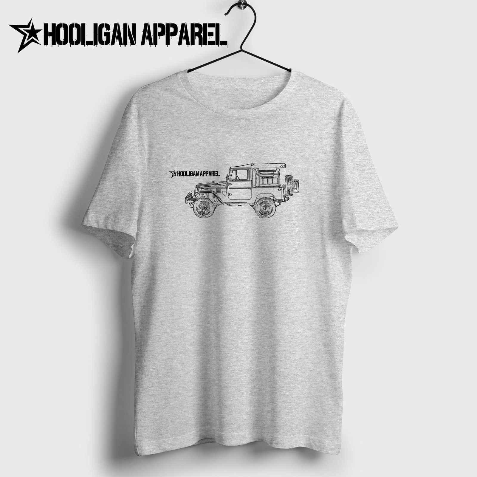 Nova camisa masculina verão topos clássicos fãs de carro japonês land cruiser fj49 tonka caminhão personalizado 4x4 inspirado arte do carro hipster t