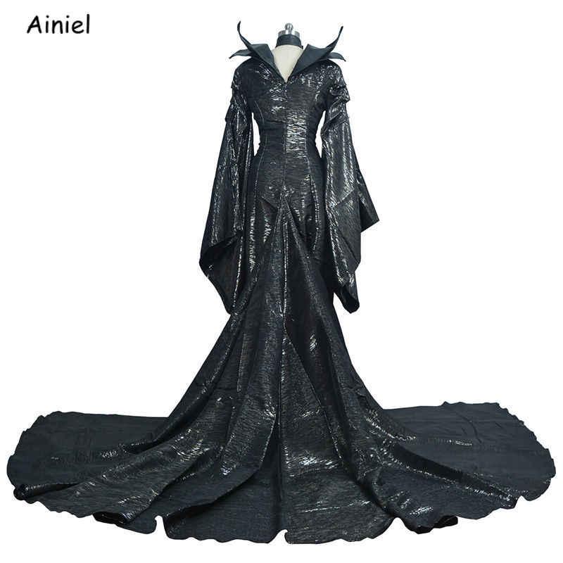 Berkualitas Tinggi Penyihir Gelap Jahat Tanduk Hiasan Kepala Masker Wanita Dewasa Halloween Partai Cosplay Kostum Jahat Gaun