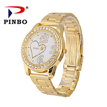 PINBO Gold Heart Watch Ladies wrist watch Quartz Plated Classic Crystals Round Ladies Women Watch Luxury Gold Watches Time Clock