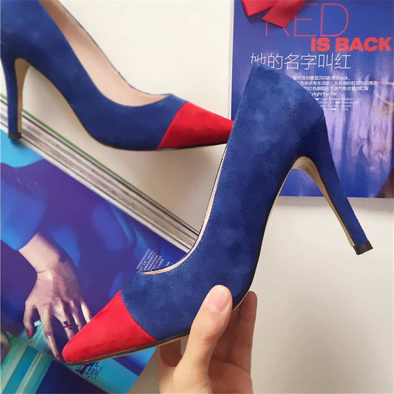 2017 New Designer Pointed Toe Mixed Color Shallow Wedding Shoes Zapatos Mujer Feminino Pumps Featuring Shoes Heels Shoes Women blue lcd display screen car dvd cd player i din car radio stereo in dash headunit mp3 usb sd aux fm receiver with remote control
