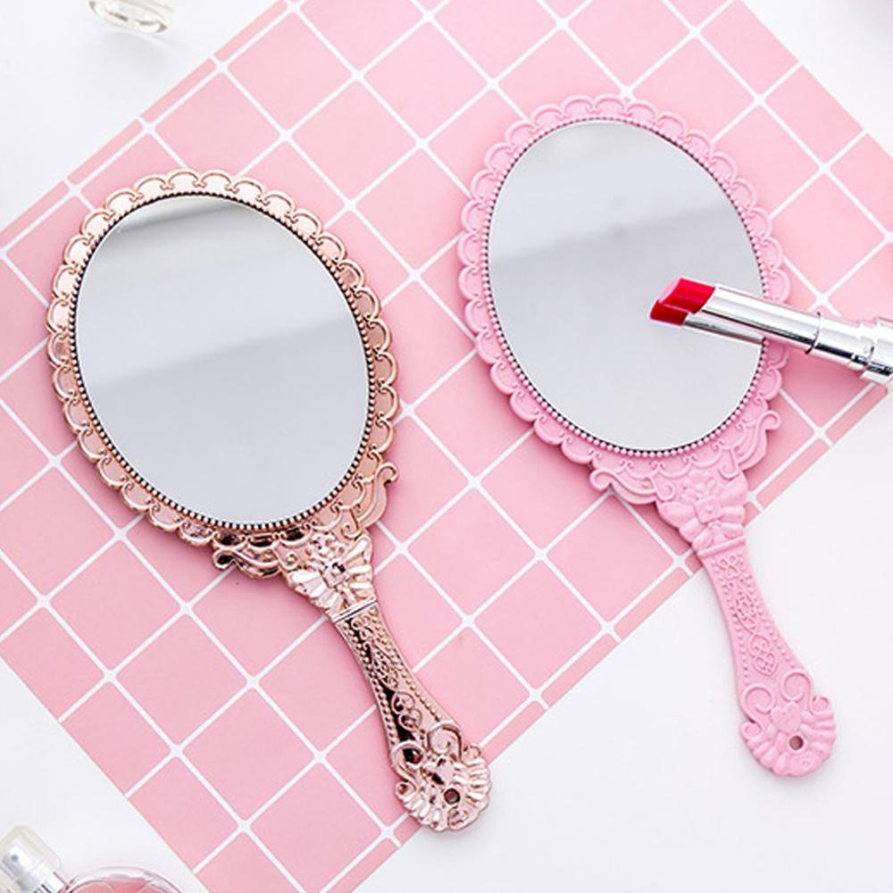 Creative Vintage Pattern Handle Makeup Mirror Oval Round Cosmetic Mirrors Beauty Women Girls Make Up Tool