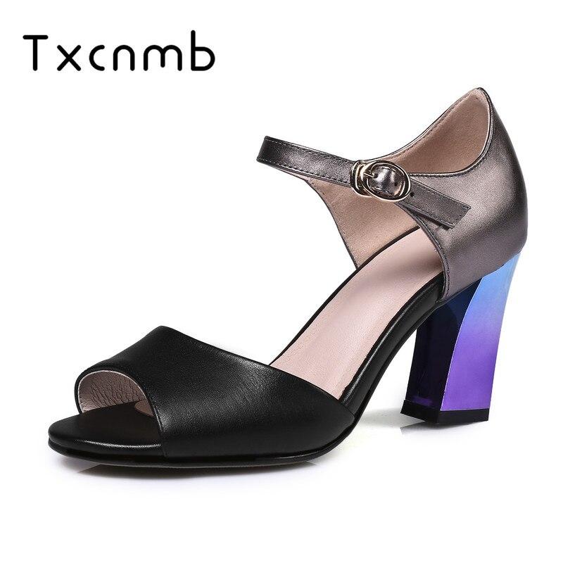 TXCNMB 2019 fashion New High Quality Genuine Leather Women Sandals Retre Fashion Square high heel wedding