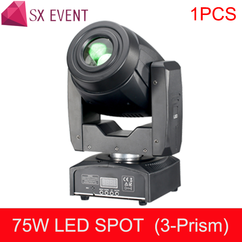 75W LED Moving Head Light 3 Face Prism Spot Light with Rotation Gobo Function for DJ Disco Stage