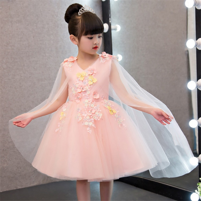 Mingli Tengda Pink   Flower     Girl     Dresses   for Weddings Ball Gowns for   Girls     Dress   Elegant V Neck   Flower     Dress   robe mariage fille