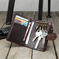 2018 Handmade retro mini Men purse wallet vegetable tanned leather small card leather ultra thin personality key card wallets