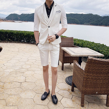 Men's suit men's fashion solid color slim thin section five-point sleeve jacket with shorts two-piece men's summer casual shorts