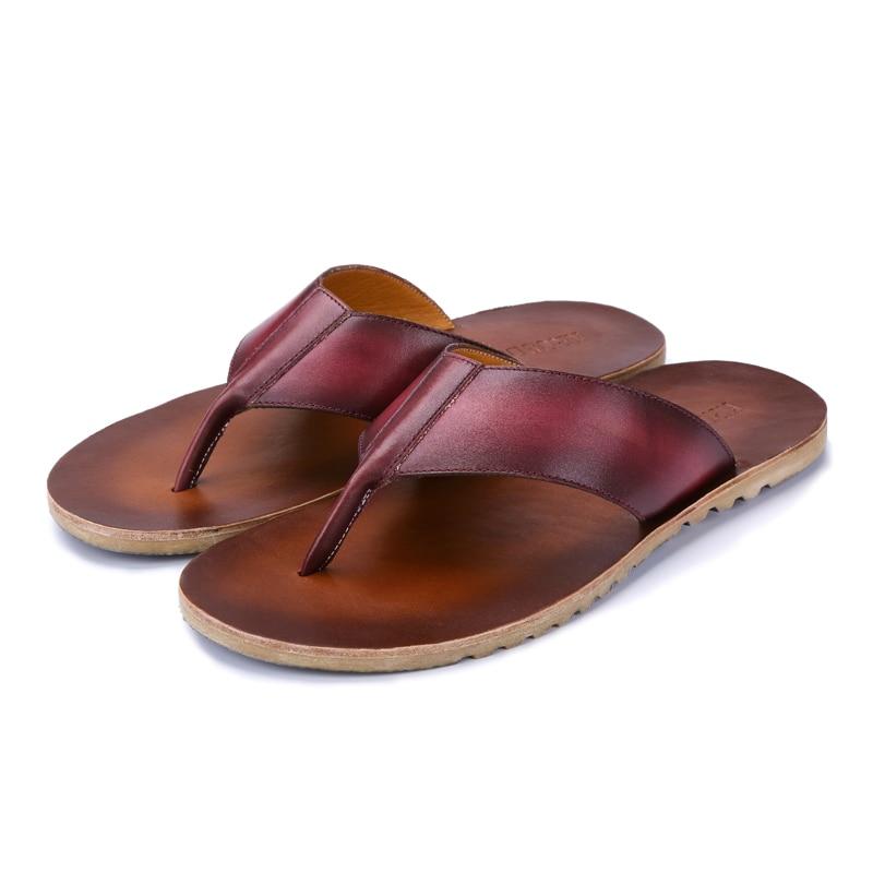 Retro Style Summer Men Slippers Genuine Leather Flip Flops for Man Beach Sandals Non-Slide Shoes Men
