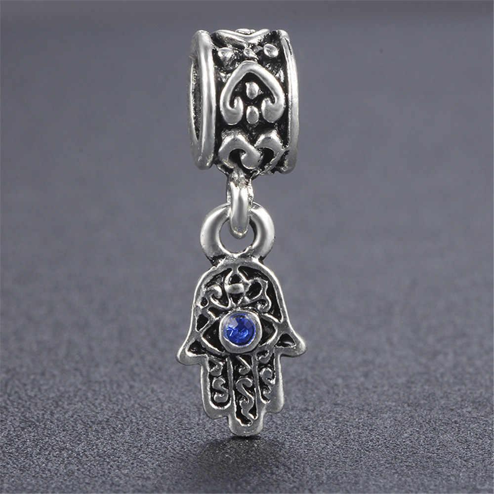 EVERYSHINE moda europa bransoletka naszyjnik wisiorek koraliki kształt dłoni oczy turcji wzór stop DIY tworzenia biżuterii JPP300