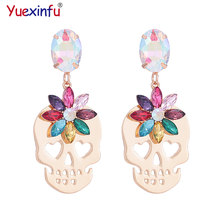 Yuexinfu High Quality Crystal Pendant Earrings Zinc Alloy Skeleton Head Pendant Fashion Trend Jewelry Fashion Women's Party(China)