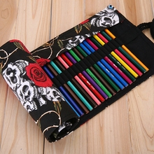 2017 New 1x 48/72 Holes Roll Up Canvas Red Roses & White Skulls Black Color Brush Pencil Pouch for Artist Students