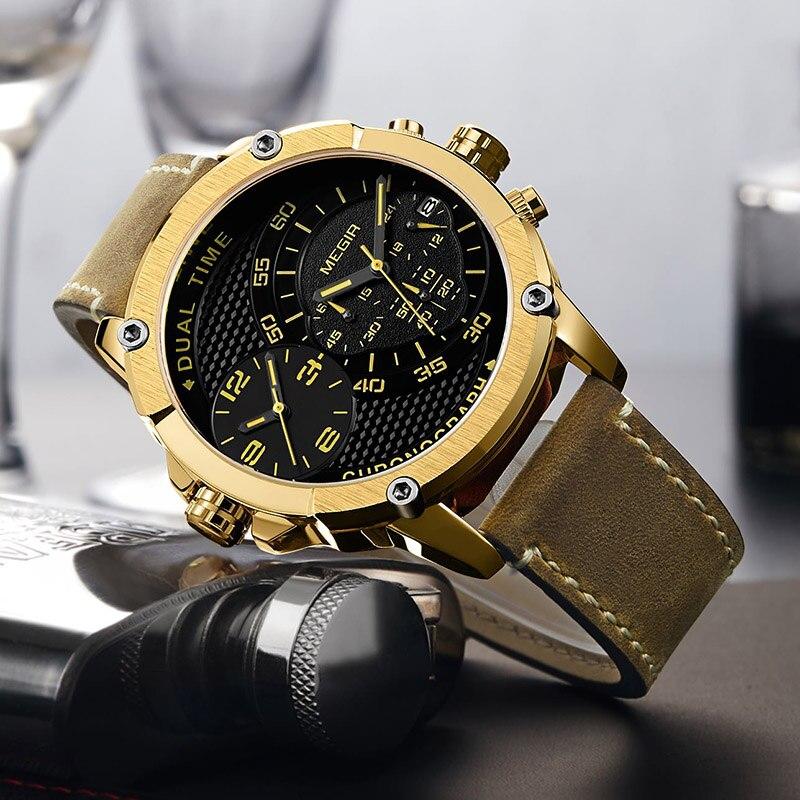 Megir Watches Men Sport Watches Men Waterproof Dual Time Zone Megir Watches Men Luxury Brand Men's Watch Military Waterproof цена
