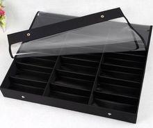 18 слот для солнцезащитные очки/очки/очки для чтения/3d очки черный витрины организатор окне снимите крышку