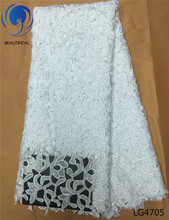 Beautifical african lace fabric guipure white cord laces for nigerian party 5 yards LG47