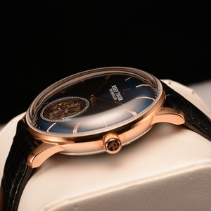 Image 4 - Reef Tiger/RT Men Luxury Brand Tourbillon Watch Blue Rose Gold Automatic Watches Genuine Leather Strap relogio masculine RGA1930