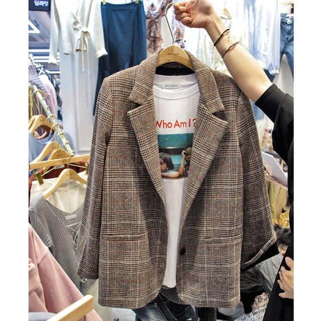 Autumn and winter new feminino retro plaid suit jacket straight female casual woolen jacket Suit Female Plaid Slim Blazer For