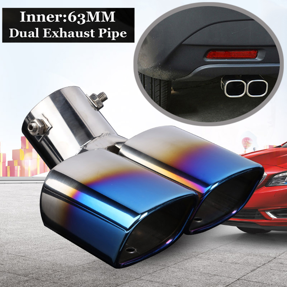 """Universal Stainless Steel Rear Dual Tail Exhaust 2.5/"""" Inlet Pipe Muffler Tip"""