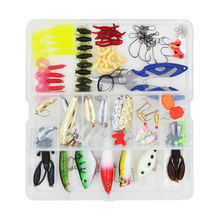 100 pcs/Box Lure Fishing Accessories Tackle Box with Complete Fishing Lure Fishhooks Wire Connector Beads Ring Pliers Tools Set