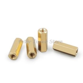 100 sztuk 4mm gwint M4 mosiądz dystansowy Hex Double Pass Spacer kolumna miedziana wsparcie nakrętka M4 x 6/8/10/12/15/20/25/30mm