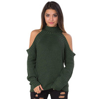 Turtleneck Cotton Knitted Sweater Off Shoulder Slim Autumn Winter White Long Sleeve Sexy Jumper Gray Warm