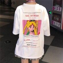Woherb verano 2018 más tamaño camiseta mujer Harajuku Casual Tops imprimir  Sailor Moon largo flojo camisetas 9d44b668a07