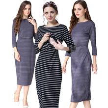 2019 New Spring Striped Maternity Breastfeeding Dresses Pregnancy clothes Women Pregnant Nursing Lactation Dress Drop Shipping цены