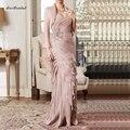 Старый Розовый мать Невесты Кружевные Платья 2015 Оболочка Женщины Вечернее Платье С Длинным С Курткой Vestido де Madrinha