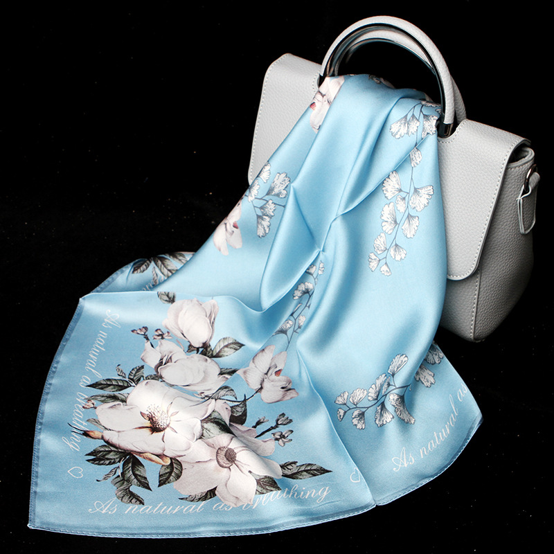 100% Silk Scarf Women Fashion Luxury Flower Print Small Kerchief Scarves Handkerchief For Stylish Lady Girl Accessories 53x53cm