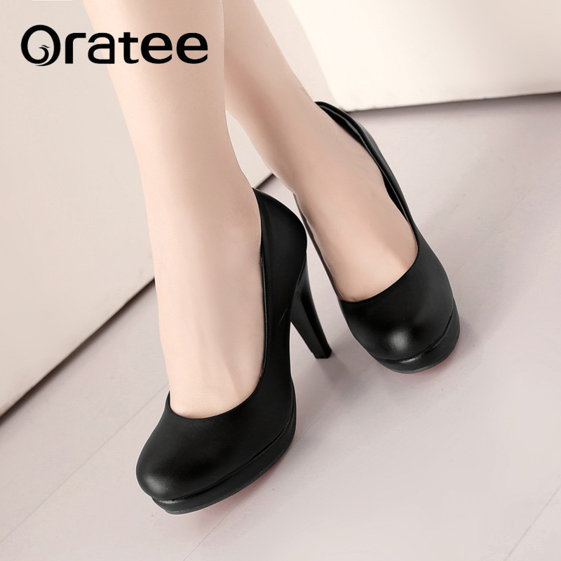 fe7bdae40ca9 Femmes Plate black Mujer De Plus Haute Slip Chaussures Lady Sur 34 forme  Office Talons Zapatos ...