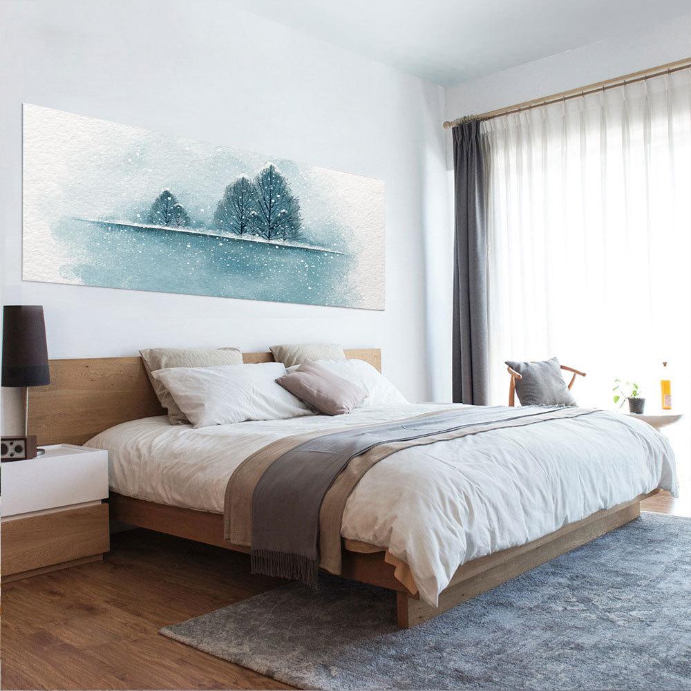 US $20.05 30% OFF|Mode Bett Kopf Dekoration 3D Wand Aufkleber Tinte  Landschaft Malerei Muster für Schlafzimmer Decor Große DIY Wandbild Kunst  ...