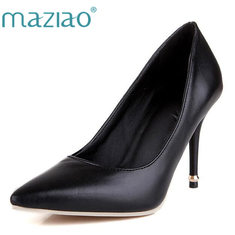 MAZIAO Ladies 9.5cm heels Pumps shoes women Big Size 33-47 Spring Autumn Pointed toe Fashion Party Causal Thin heels