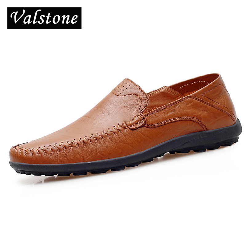 Valstone Men Quality Leather Shoes Vintage Italian handmade moccasins 2018 Summer Autumn drive loafers daily flats Plus sizes 47 цена