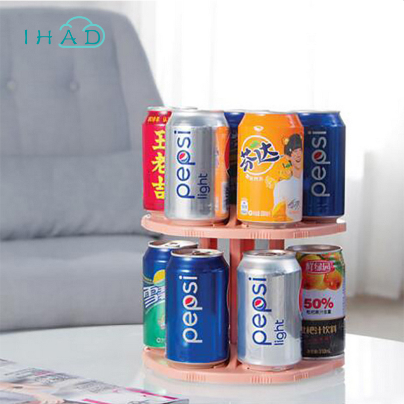 Rotate beer drink organizer Beverage tray refrigerator 14 Grids cans holder can be used in kitchen bathroom desktop storage box