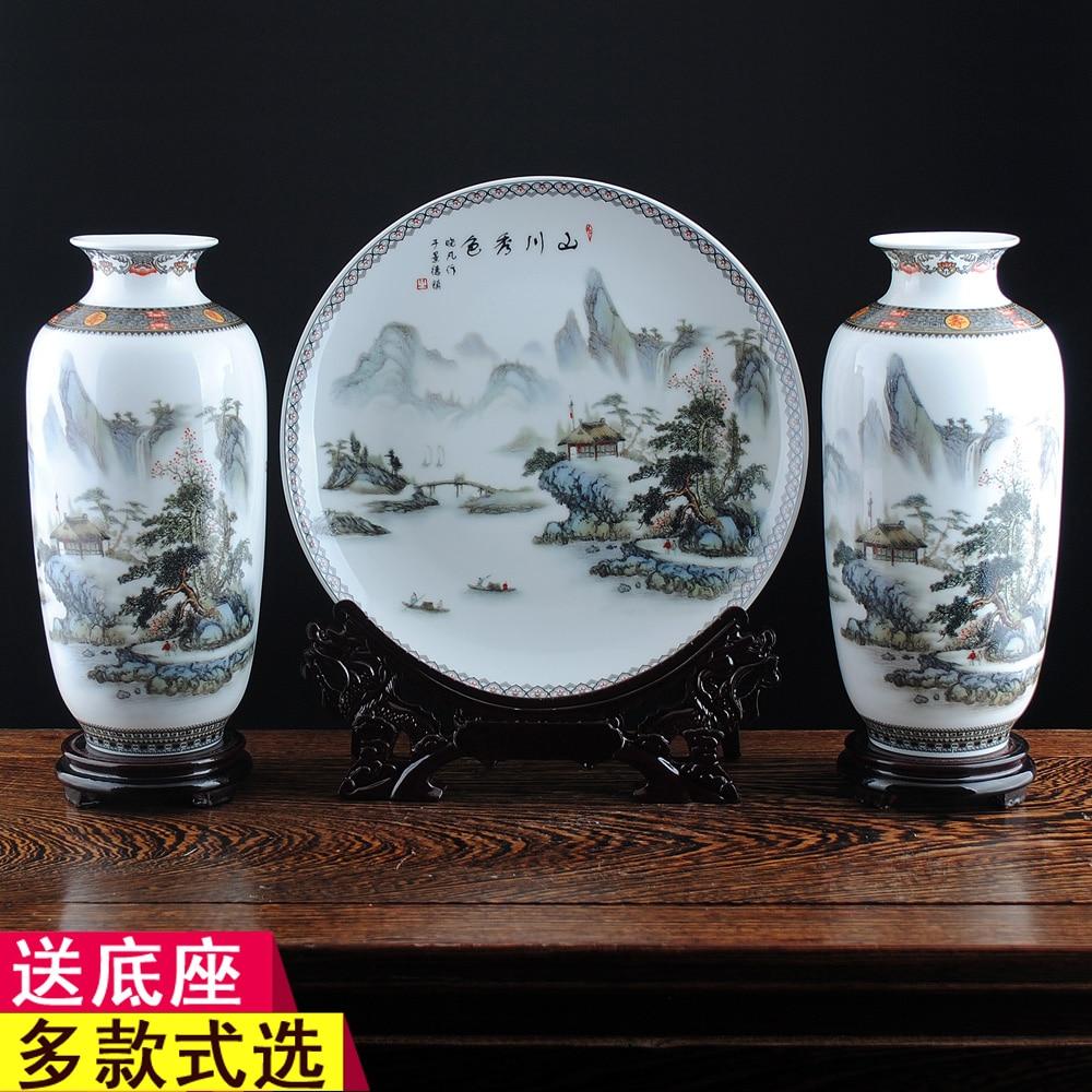 White ceramic plates for crafts - Jingdezhen Ceramics Pastel Beautiful Scene Three Piece Vase Hanging Plate Home Decoration Room Decoration Crafts