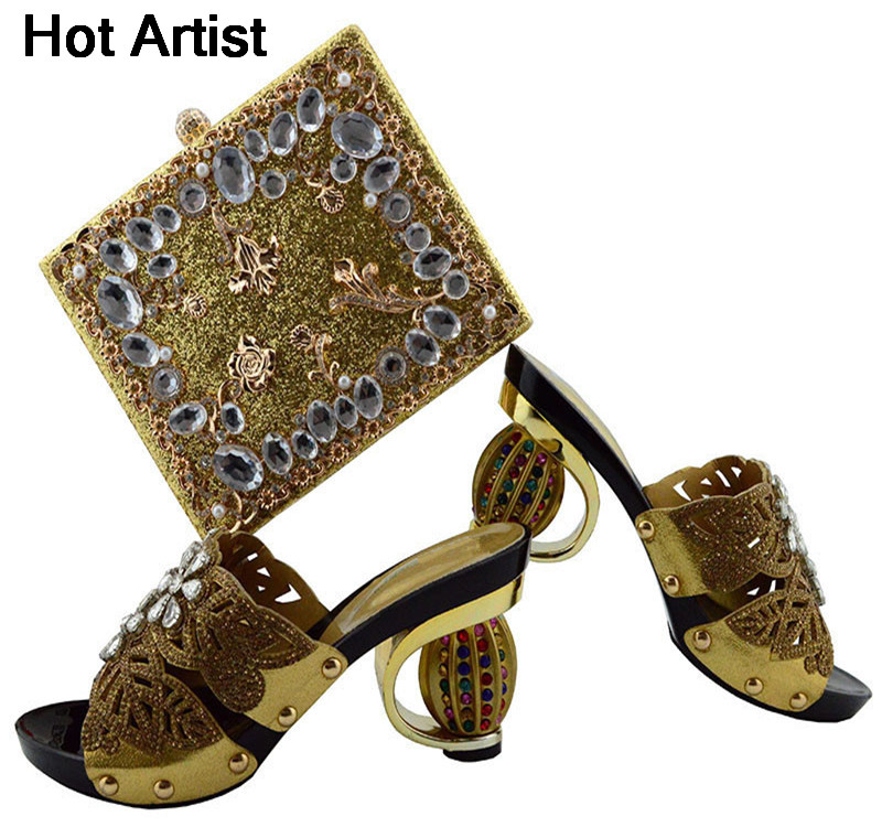Hot Artist Italian Design Pretty Gold Shoes With Matching Bag Set Fashion Italy Shoes And Bag To Match African Women Shoes YK04 cd158 1 free shipping hot sale fashion design shoes and matching bag with glitter item in black