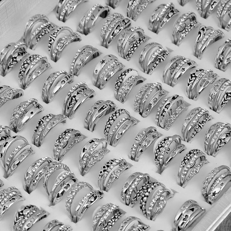 3pcs set bulks mixed lots rhinestone wedding rings for for Wholesale costume jewelry for resale