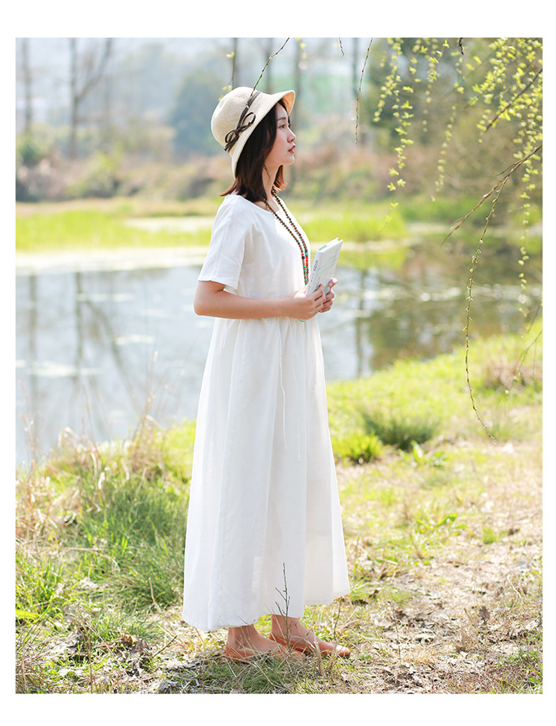 LZJN Women Summer Pullover V Neck and O Neck Loose Drawstring Waist Cotton Linen Long Dress Basic Daily Style White Cool Dress (17)