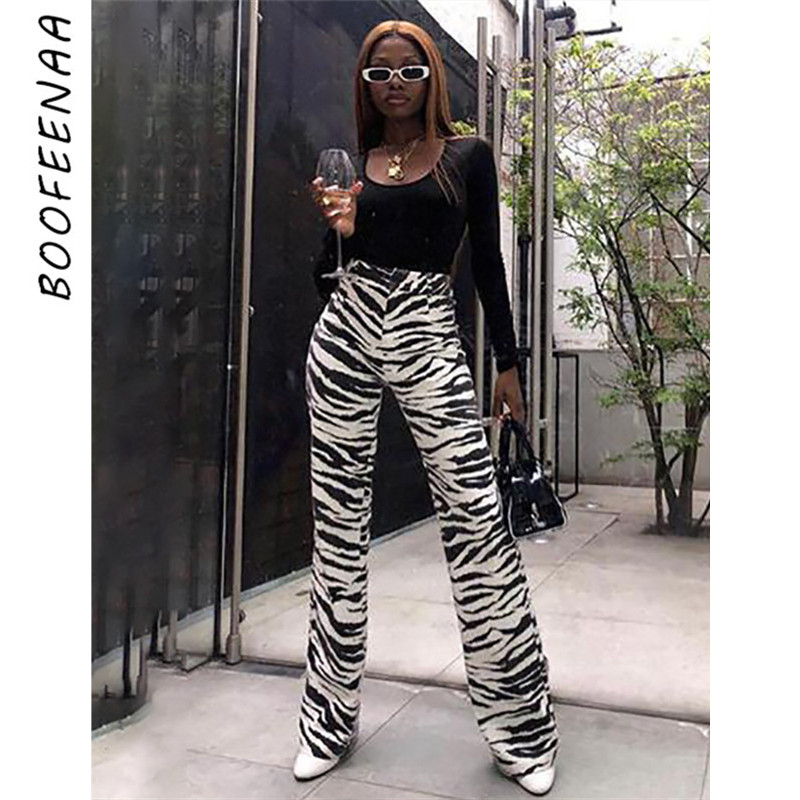 BOOFEENAA Fashion Zebra Animal Print Wide Leg Pants Women Fall Winter Casual Trousers Sexy High Waist Bell Bottom Pants C55-AC75