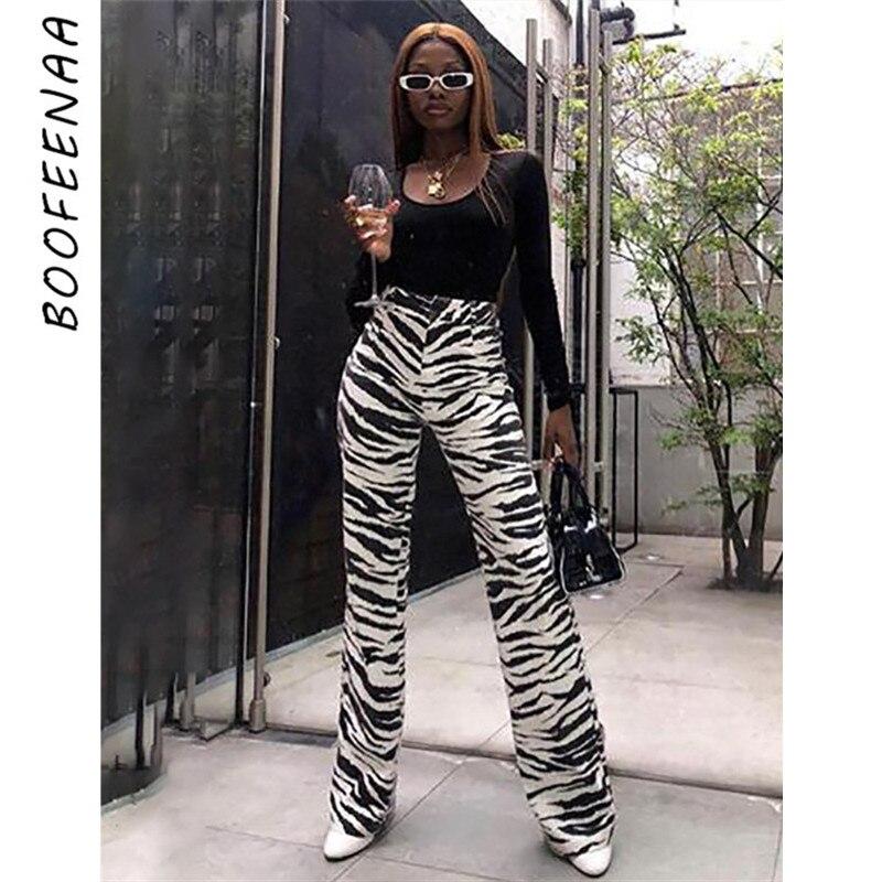BOOFEENAA Fashion Zebra Animal Print Wide Leg Pants Women Fall Winter Casual Trousers Sexy High Waist Bell Bottom Pants C55-AC75